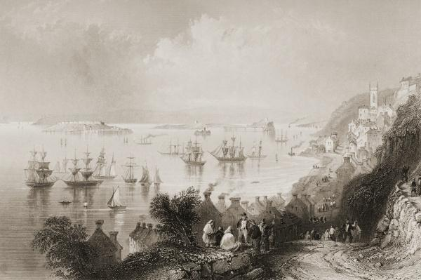 Cobh Harbour, Cork, Ireland, from 'Scenery and Antiquities of Ireland' by George Virtue, 1860s