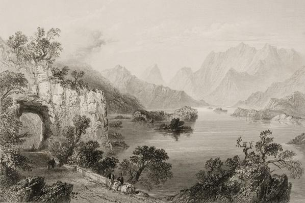 The Upper Lake at Killarney, County Killarney, Ireland, from 'Scenery and Antiquities of Ireland' by George Virtue, 1860s