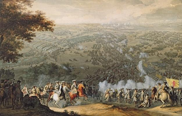 The Battle of Poltava, engraved by one of the Nicolas Larmessin family, 1709