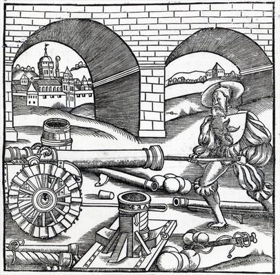 A Man loading a cannon, illustration for 'De re Militari' by Publius Flavius Vegetius Renatus