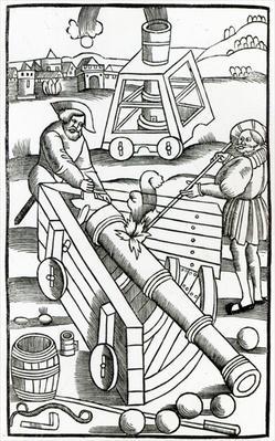 Soldiers firing a cannon, illustration for 'De re Militari' by Publius Flavius Vegetius Renatus