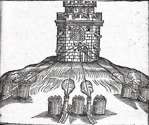 Illustration of siege warfare, from 'The Art of Gunnery' by Thomas Smith