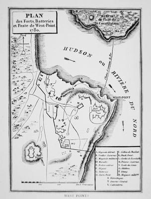 Plan of West Point, the key fort that Benedict Arnold plotted to deliver to the British during the War of Independence