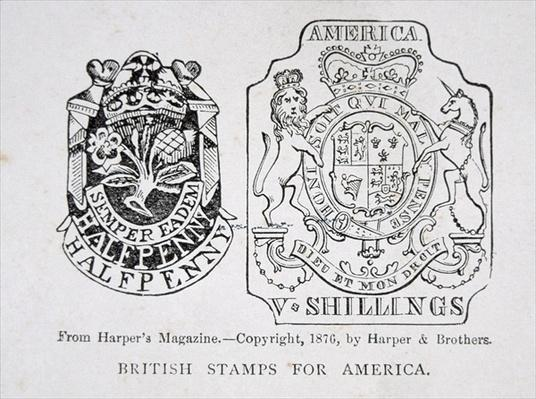 British stamps for America, 1765, pub. in Harper's Magazine in 1876, 1765