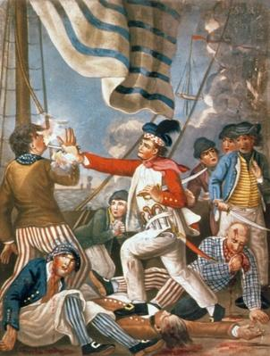John Paul Jones shooting a sailor who had attempted to strike his colours in an engagement, pub. by Carrington Bowles, 1779