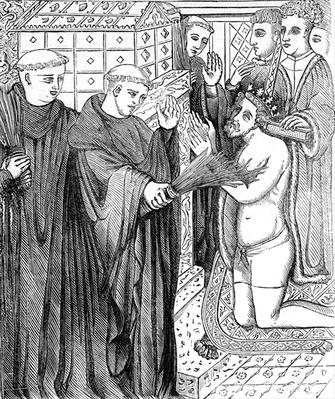 Penance of Henry II, after an engraving in Carter's 'Specimens of Ancient Sculpture and Painting' published in 1780