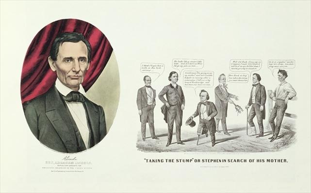 Hon. Abraham Lincoln, 16th President of the United States, 1860 (litho) by Currier, N. (1813-88) and Ives, J.M. (1824-95)
