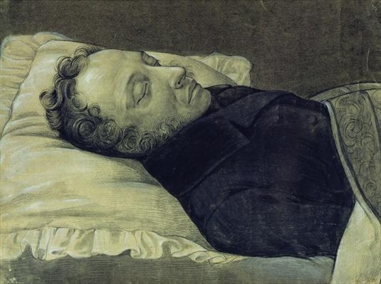 Portrait of Alexander Pushkin on his deathbed, 1837
