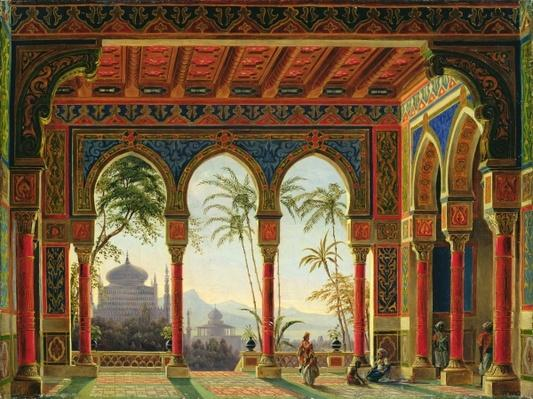 Stage design for the opera 'Ruslan and Lyudmila' by M. Glinka, 1842