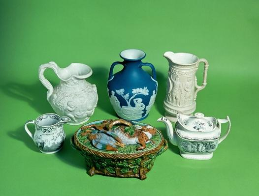 Collection of Wedgwood Victorian pottery; and Victorian pottery including copy of Portland vase