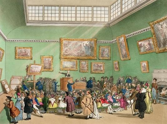 Christie's Auction Room, aquatinted by J. Bluck