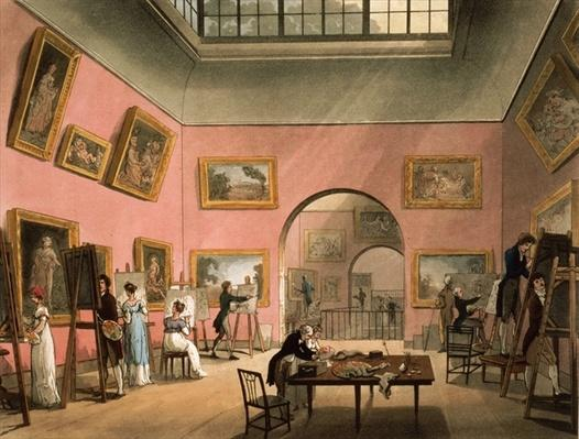 Students learning to paint and making copies of pictures at the British Institution, Pall Mall, from Ackermann's `Microcosm of London', 1808