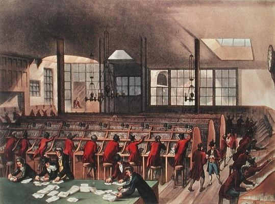 The Post Office, from Ackermann's 'Microcosm of London', Volume II, Pub. 1809