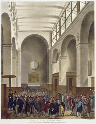 The New Stock Exchange, Bartholomew Lane, from Ackermann's 'Microcosm of London', published 1809