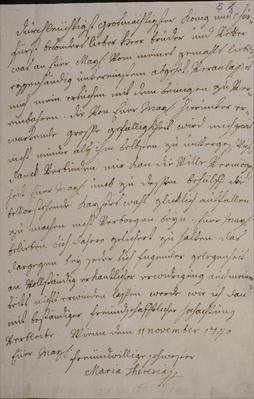 A letter from Maria Theresa to King Frederick II asking for his support for the imperial election of her husband Francis I, 11th November 1740