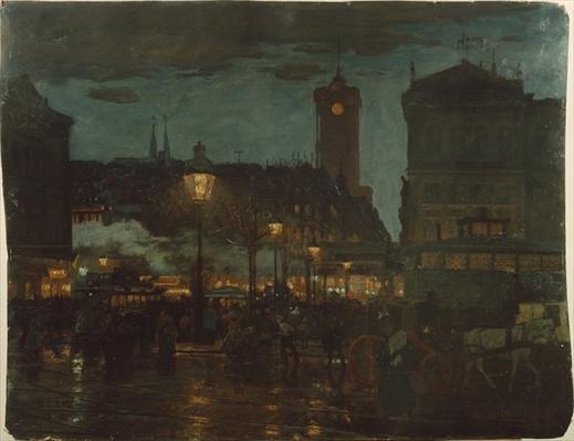 Alexander Square, Berlin, at night, 1895