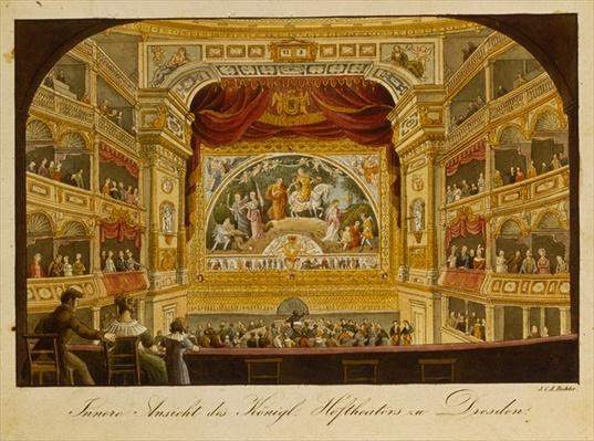 The interior of the royal theatre at Dresden, c.1845