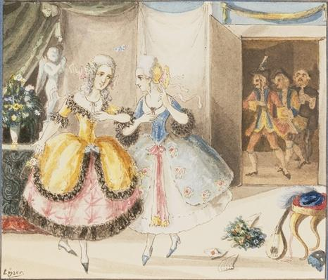 Characters from 'Cosi fan tutte' by Mozart, 1840