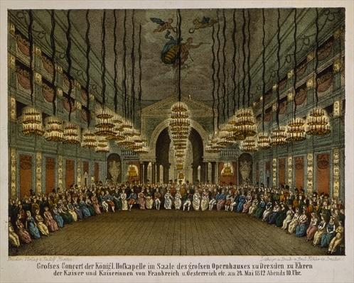 Concert of the royal band in the auditorium of the Dresden Opera House in honour of the imperial couple, 1812