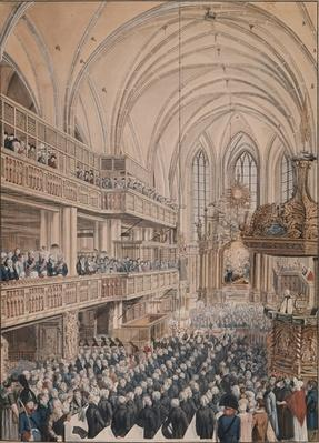 The inauguration of the city councillors in the Church of St. Nicholas, 1808