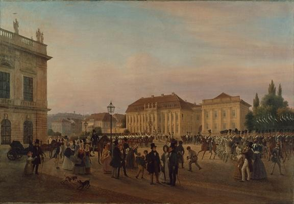 Parade before the royal palace, 1839