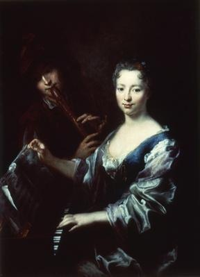 Lady playing a spinet and a flautist