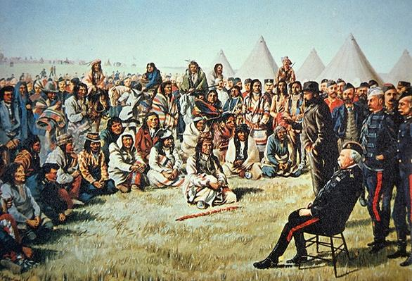 Chief Poundmaker surrenders to General Middleton during the North-West Rebellion of 1885