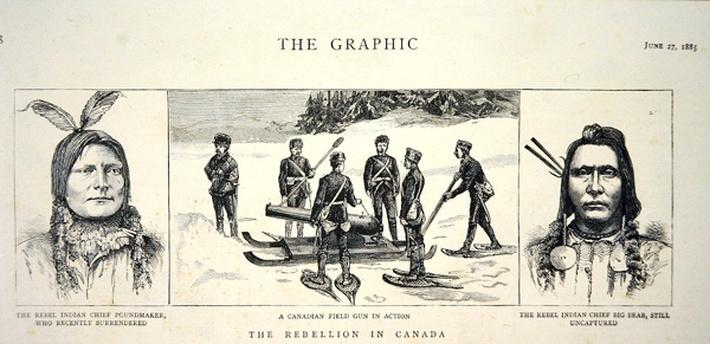 Portraits of Rebel Chiefs Poundmaker and Big Bear, published in 'The Graphic', 27th June 1885