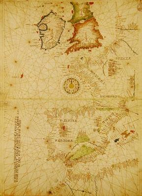 The Atlantic Coasts of Europe and Africa, from a nautical Atlas, 1520