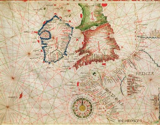 The French Coast, England, Scotland and Ireland, from a nautical atlas, 1520