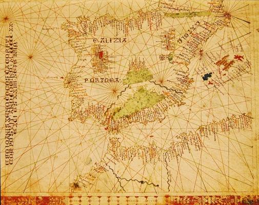 The Iberian Peninsula and the north coast of Africa, from a nautical atlas, 1520
