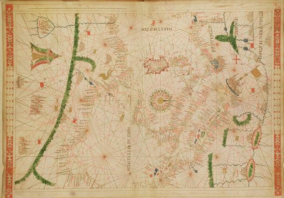 The Central Mediterranean, from a nautical atlas, 1520