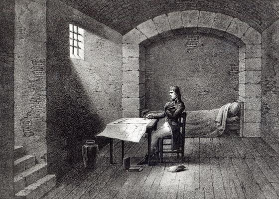 Brigadier-General Bonaparte in prison in the Fort Carre in Nice, engraved by Jean-Baptiste Jobard