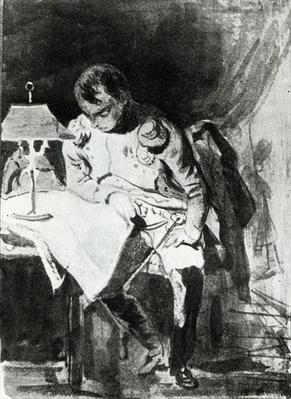Napoleon studying his maps by lamplight, c.1800