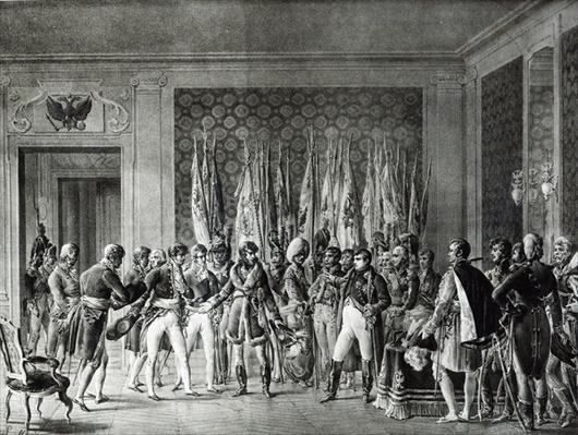 Napoleon gives the flags won at Austerlitz in 1805 to the Mayors of Paris visiting him at Schonbrunn