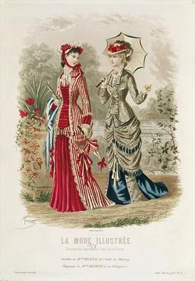 Fashion plate showing hats and dresses, illustration from 'La Mode Ilustree', 1879