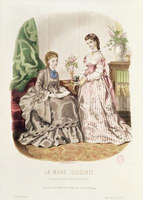 Fashion plate showing ballgowns, illustration from 'La Mode Illustree', 1872