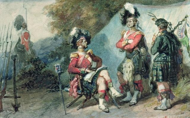 Officers of the 79th Highlanders at Chobham Camp in 1853