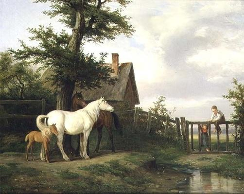 Children and Horses by a Stream, 19th century