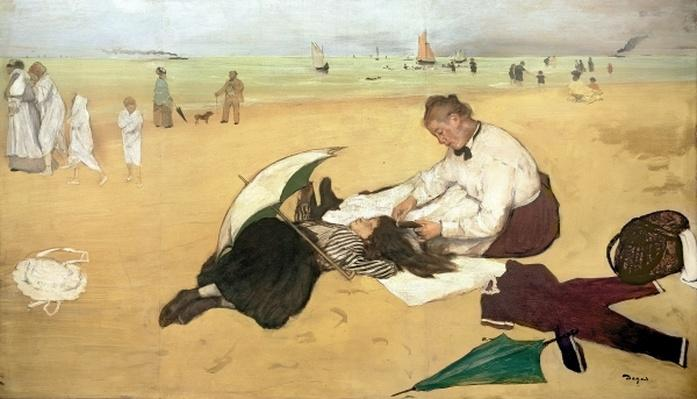 Beach scene: little girl having her hair combed by her nanny, c.1876-77 by Degas, Edgar (1834-1917)