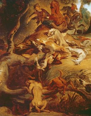 Detail of The Wild Boar Hunt, after a painting by Rubens, c.1840-50