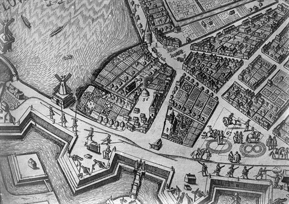 Map of Hamburg showing its first Opera House, 1690