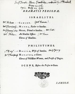Dramatis Personae for Samson, an Oratorio by Handel, published in 1759