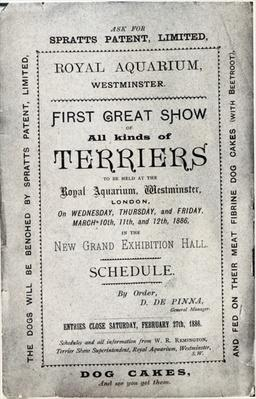 Poster advertising the Allied Terrier Club Show at the Royal Aquarium, Westminster in 1886