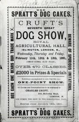 Poster advertising Cruft's Dog Show at the Royal Agricultural Hall in Islington, London in 1891