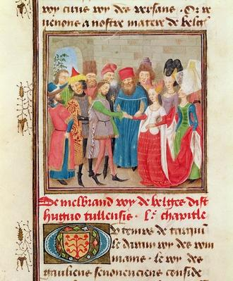 Ms 149 t.1 fol.95 Marriage Scene, from the 'Histoire des Nobles Princes de Hainaut', by Jacques de Guise