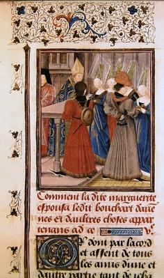 Ms 149 t.3 fol.149 Marriage of Marguerite de Constantinople with Bouchard d'Avesnes in 1212
