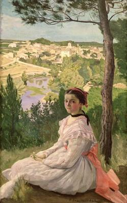 View of the village, Castelnau, 1868 by Bazille, Jean Frederic (1841-70)