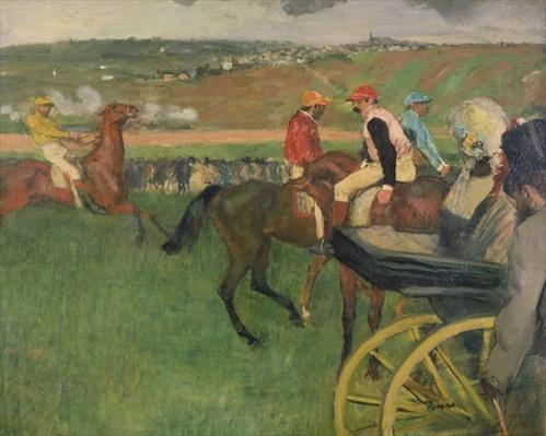 The Race Course - Amateur Jockeys near a Carriage, c.1876-87