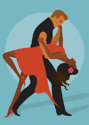 Man and Woman Salsa Dancing | Clipart